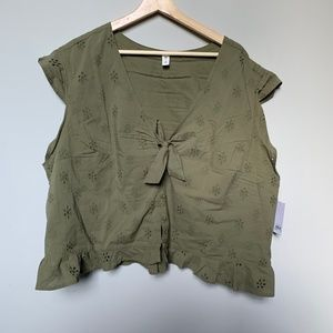 Nordstrom Plus size (3X) olive green blouse